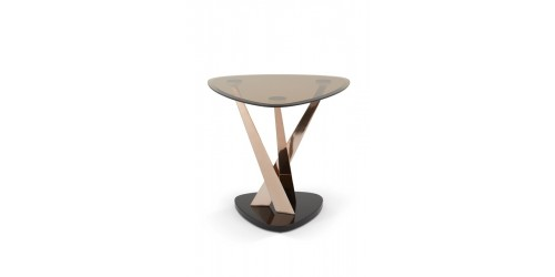 Lidia Glass Lamp Table - Rose Gold