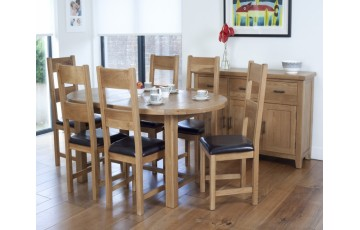 Hastings Oak Extending Oval Dining Set (With 4 Chairs)
